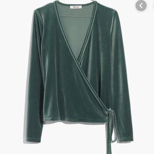 Madewell green Velvet Ballet Wrap Top S